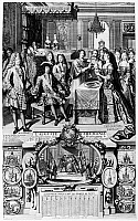 0126883 © Granger - Historical Picture ArchiveFRANCE: BAPTISM, 1704.   The baptism of the first-born son of Louis, Duke of Burgundy and Marie-Adelaide of Savoy (in bed in the background). Present are King Louis XIV (seated); Louis, le Grand Dauphin at left; and the Duke of Burgundy next to the priest. Line engraving, c1704.