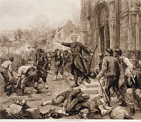 0165896 © Granger - Historical Picture ArchiveBATTLE OF BAZEILLES, 1870.   Ambush on Bavarians by French troops in front of a church in Bazeilles, France, during the Franco-Prussian War, 1870. Photogravure after Francois Lafon, c1896.
