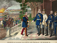 0165898 © Granger - Historical Picture ArchiveFRANCO-PRUSSIAN WAR, 1870.   The surrender of Napoleon III after the battle of Sedan, 2 September 1870. Color line engraving, American, c1871.