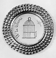 0176195 © Granger - Historical Picture ArchiveFRENCH REVOLUTION: BUTTON.   A glass-covered button of sheet iron, edged with copper, worn by French Revolutionaries as a badge of identification, c1789-93.