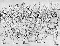 0176198 © Granger - Historical Picture ArchiveFRENCH REVOLUTION, 1795.   The head of Jean Feraud, a Deputy at the Convention, carried on a bayonet during the French Revolution, 21 May 1795. Drawing by Baron Dominique Vivant Denon.