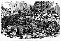 0176215 © Granger - Historical Picture ArchiveFRANCE: REVOLUTION, 1848.   Barricades at the entrance of the Rue du Faubourg Saint Antoine in Paris, France, during the June 1848 riots in Paris after the closing of the national workshops. Contemporary English wood engraving.