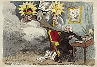0176432 © Granger - Historical Picture ArchiveFRENCH REVOLUTION: CARTOON.  'Smelling Out a Rat.' British philosopher Richard Price at work with a rat caricature of Irish statesman Edmund Burke over his shoulder. Etching by James Gillray, 1790.