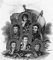 0260036 © Granger - Historical Picture ArchiveFRENCH MARSHALLS.   Napoleon's marshalls: Joachim Murat, Andre Massena, Michel Ney, Louis Berthier, Auguste Marmont, and Nicolas Soult. Engraving by Freeman and Francis William Topham, c1815.