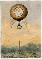 0264441 © Granger - Historical Picture ArchivePARIS, c1890.   A hot air balloon suspended above the Eiffel Tower in Paris, France. Watercolor by Camille Gr�vis, c1890.