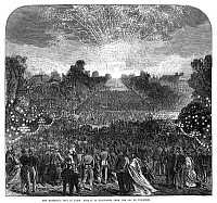 0265035 © Granger - Historical Picture ArchivePARIS: EMPEROR'S FETE, 1868.   Display of fireworks from the Arc de Triomphe in Paris, during the annual emperor's fete, 1868. Contemporary British engraving.