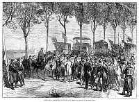 0266959 © Granger - Historical Picture ArchiveSIEGE OF PARIS, 1870.   Departure of American and English citizens during the Siege of Paris during the Franco-Prussian War, November 1870. Contemporary English wood engraving.