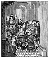0268670 © Granger - Historical Picture ArchiveGHENT: SURRENDER, 1397.   The Deputies of the Burghers of Ghent, in revolt against Louis II, Count of Flanders, begging for pardon and the return to their town, 1397. Engraving after a contemporary manuscript illumination by Jean Froissart.