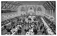 0322639 © Granger - Historical Picture ArchiveBANQUET, 14th CENTURY.   A Grand Ceremonial Banquet at the Court of France in the 14th century. Reconstruction based on miniatures and narratives of the period, from the 'Dictionnaire du Mobilier Francais,' by Eugene Viollet le Duc, 1858.