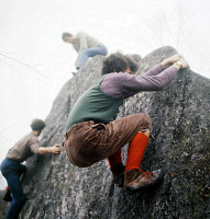 0525690 © Granger - Historical Picture ArchiveFRANCE: FONTAINEBLEAU, 1970.   Boys climbing rocks in Fontainebleau Forest. Photograph by Gerald Bloncourt, 1970. Full credit: Gerald Bloncourt - Rue des Archives / Granger, NYC.