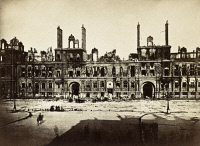 0528602 © Granger - Historical Picture ArchivePARIS, 1872.   View of the Hôtel de Ville in Paris, France, almost completely destroyed by fire during the Paris Commune of 1871. Photograph by Alphonse Liebert, 1872.