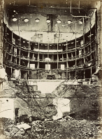 0528604 © Granger - Historical Picture ArchivePARIS, 1872.   The burned interior of the Théâtre Lyrique (now known as Théâtre de la Ville) in Paris, France, damaged by fire during the Paris Commune of 1871. Photograph by Alphonse Liebert, 1872.