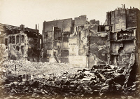 0528608 © Granger - Historical Picture ArchivePARIS, 1871.   A view of Rue du Bac in Paris, France, destroyed by fire during the Paris Commune of 1871. Photograph by J.W. Wulff, 1871.