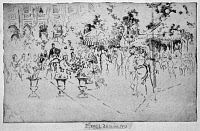 0622160 © Granger - Historical Picture ArchivePENNELL: PALAIS ROYAL, 1893. 'Palais royal.' People seated in the plaza of the Palais-Royal, Paris, France. Etching by Joseph Pennell, 1893.