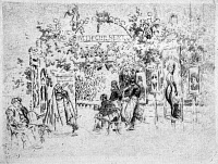 0622161 © Granger - Historical Picture ArchivePENNELL: CAFE CHANTANT.   'Café chantant.' People seated at the entrance of an outdoor musical cafe, Paris, France. Etching by Joseph Pennell, 1893.