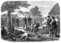 0000795 © Granger - Historical Picture ArchiveBATTLE OF SADOWA, 1866.   Crown Prince Frederick of Prussia (Frederick III of Germany) visiting troops wounded in the Battle of Sadowa (also known as Koeniggratz). Wood engraving, English, 1866.