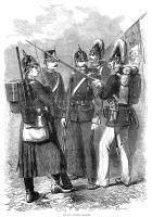 0017502 © Granger - Historical Picture ArchivePRUSSIAN INFANTRY, 1870.   Prussian infantry soldiers from the Franco-Prussian War. Wood engraving from an English newspaper of 1870.