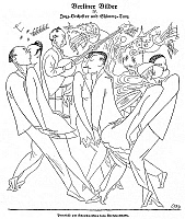 0017917 © Granger - Historical Picture ArchiveGERMANY: DANCE CRAZE, 1921.   'Jazz Band and Shimmy.' Office workers at a five o'clock dance. Pen-and-ink drawing, 1921, by Karl Arnold.