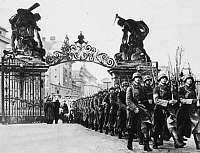 0018041 © Granger - Historical Picture ArchiveGERMANS IN PRAGUE, 1939.   German infantry marching into the grounds of Hradcany Palace in Prague after the occupation of Czechoslovakia in March 1939.