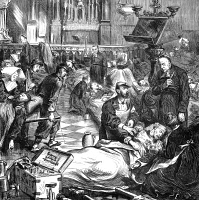 0018150 © Granger - Historical Picture ArchiveBATTLE OF SEDAN, 1870.   Wounded soldiers in a church at Sedan after the battle, 1 September 1870, during the Franco-Prussian War. Wood engraving from a contemporary English newspaper.