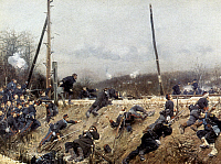 0022668 © Granger - Historical Picture ArchiveFRANCO-PRUSSIAN WAR, 1870.   Alphonse de Neuville: Battle on a Railway Line. Oil on canvas, c1870.