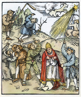 0066633 © Granger - Historical Picture ArchiveGERMANY: PEASANTS WAR.   Peasants fighting monks and the Pope. Woodcut, German, 1524.