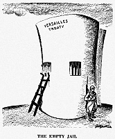 0079162 © Granger - Historical Picture ArchiveGERMANY: CARTOON, 1936.   'The Empty Jail.' Cartoon by the American cartoonist, D.R. Fitzpatrick, on Germany's repudiation of the disarmament clauses of the Versailles Treaty.
