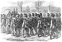 0082131 © Granger - Historical Picture ArchiveBAVARIAN SOLDIERS, 1870.   Bavarian Jaegers on their march to the front during the Franco-Prussian War. Wood engraving from an English newspaper of 1870.