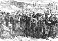 0082132 © Granger - Historical Picture ArchiveGERMAN SOLDIERS, 1871.   Wounded German soldiers returning home from the Franco-Prussian War. Wood engraving, English, 1871.