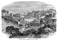 0267962 © Granger - Historical Picture ArchiveLUXEMBOURG, 1867.   View of the town and fort of Luxembourg, from the north. Wood engraving, English, 1867.