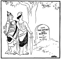0353155 © Granger - Historical Picture ArchiveCARTOON: SOVEREIGNTY, 1963.   'One day, no doubt, they may get around to burying us.' Cartoon by David Low, 1963, with personifications of West Germany and French sovereignty looking over a gravestone that reads, 'Here the Hatchet was Buried by Adenaauer and de Gaulle.