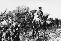 0433206 © Granger - Historical Picture ArchiveCOAL MINERS STRIKE, 1889.   Strike of 100,000 coal miners attack a military patrol on horseback, Rineland-Westphalia, Germany. Illustration, May 1889. Full Credit: Ullstein Bild / The Granger Collection.