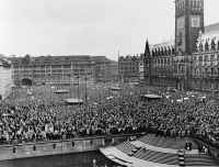 0621733 © Granger - Historical Picture ArchiveWEST GERMANY: PROTEST.   A large crowd gathered to protest atomic armament for West Germany, at City Hall Square in Hamburg. Photograph, c1958.