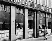 0622906 © Granger - Historical Picture ArchiveKRISTALLNACHT, 1938.   Windows of a Jewish-owned business smashed during the Kristallnacht pogrom, Berlin, Germany. Photograph, 1938.