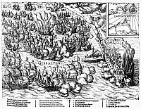 0118320 © Granger - Historical Picture ArchiveBATTLE OF GIBRALTAR, 1607.  The naval battle of Gibraltar, 25 April 1607, in which a Dutch fleet destroyed a Spanish fleet anchored at the Bay of Gibraltar. Contemporary German line engraving.
