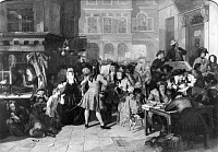 0004062 © Granger - Historical Picture ArchiveTHE SOUTH SEA BUBBLE.  A scene in Change Alley, London, in 1720. Oil on canvas, 1847, by Edward Matthew Ward (1816-1879).