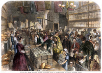 0008435 © Granger - Historical Picture ArchiveENGLAND: FAMINE, 1862.   Provision shop in Manchester, England, during the cotton famine resulting from the Union blockade of Confederate ports during the American Civil War. Wood engraving from an English newspaper of 1862.