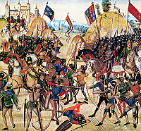 0016916 © Granger - Historical Picture ArchiveBATTLE OF CRECY, 1346.   The Battle of Crecy, 26 August 1346. Detail from 'Chroniques de Froissart,' 14th century manuscript.