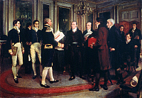 0022792 © Granger - Historical Picture ArchiveTREATY OF GHENT, 1814.   British and American diplomats signing the Treaty of Ghent, 24 December 1814. Oil on canvas by Forestier.
