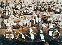 0023970 © Granger - Historical Picture ArchiveDEFEAT OF SPANISH ARMADA.   'English Ships and the Spanish Armada, August 1588.' Oil painting by a member of the English School, 16th century.