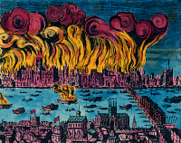 0030489 © Granger - Historical Picture ArchiveGREAT FIRE OF LONDON, 1666.   The Great Fire of London, 1666, which destroyed 13,200 houses and 89 churches but with a total death toll of six persons. Contemporary engraving.