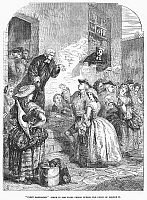 0037155 © Granger - Historical Picture ArchiveFLEET STREET MARRIAGE.   The looseness of the marriage laws under George II allowed for frequent clandestine marriages in the 18th century, which were often performed by drunk and imprisoned clergymen of the Fleet Street Prison, London, England. Wood engraving, 19th century.