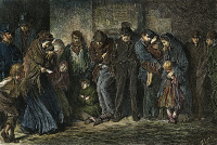 0037217 © Granger - Historical Picture ArchiveLONDON: CASUAL WARD, 1869.   Applicants for admission to a casual ward at London. Engraving, 1869, after the painting by Sir Luke Fildes.