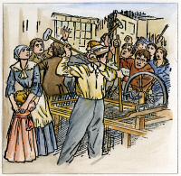 0037765 © Granger - Historical Picture ArchiveLUDDITES, 1811.   English workers and Luddites smashing a spinning jenny in a factory during the riots of 1811-1816. Illustration, c1935.