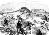 0041430 © Granger - Historical Picture ArchiveZULU WAR, 1879.   The Battle of Kambula Hill, 29 March 1879, between British troops and Zulu fighters on the Transvaal frontier of Zululand. Wood engraving from a contemporary British newspaper.