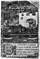 0042612 © Granger - Historical Picture ArchiveWHITE TOWER OF LONDON.   Miniature of the White Tower of London from a manuscript of the poems of Charles D'Orleans, who was captured at Agincourt in 1415 and remained a prisoner in England until 1440.