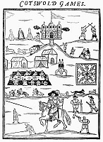 0059221 © Granger - Historical Picture ArchiveCOTSWOLD GAMES, 1636.   The annual Cotswold Games. Woodcut frontispiece for 'Annalia Dubrensia,' London, 1636.