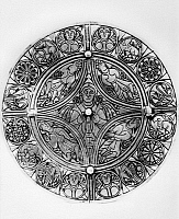 0078275 © Granger - Historical Picture ArchiveFULLER BROOCH, 9th CENTURY.   The Fuller Brooch, a highly unusual silver brooch inlaid with niello depicting the five senses. The symbolism and figural style show contact with the art of continental Europe. Anglo-Saxon, 9th century.