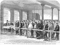 0078455 © Granger - Historical Picture ArchiveENGLAND: COTTON FAMINE.   'Distributing tickets for bread, soup, meat, meal, coal, etc., at the office of a district Provident Society, Manchester.' The distress was caused by the Union blockade of Confederate ports. Wood engraving from an English newspaper of 1862.
