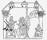 0085266 © Granger - Historical Picture ArchiveENGLISH KING, 10th CENTURY.   An English king of the 10th century with his thegns (vassals) before him. Woodcut after an English manuscript illumination, c1000.